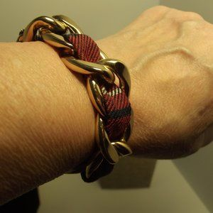 Gold tone fabric woven link bracelet